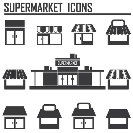 boutique shop: Single shop, store shop, supermarket vector icons set Illustration