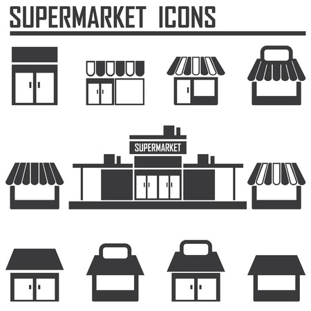 food storage: Single shop, store shop, supermarket vector icons set Illustration