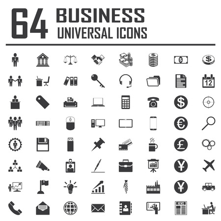64 Business Icons. Vector