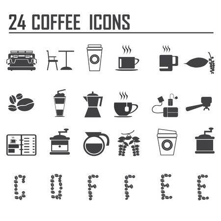 cafe shop: 24 coffee icons set vector