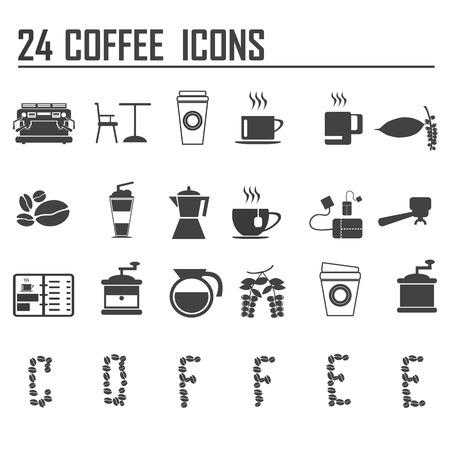 24 koffie pictogrammen instellen vector