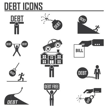 빚: debt burden concept 일러스트