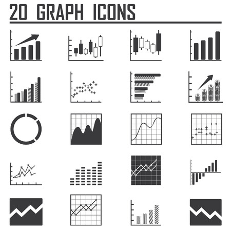 stock illustration: Line chart and Diagram icons on white background. Vector illustration.