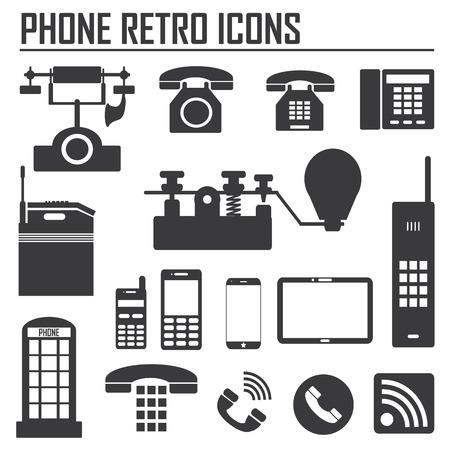 telegrama: La colección, que muestran la evolución de los iconos del teléfono y de la comunicación en el fondo blanco. Ilustración del vector.