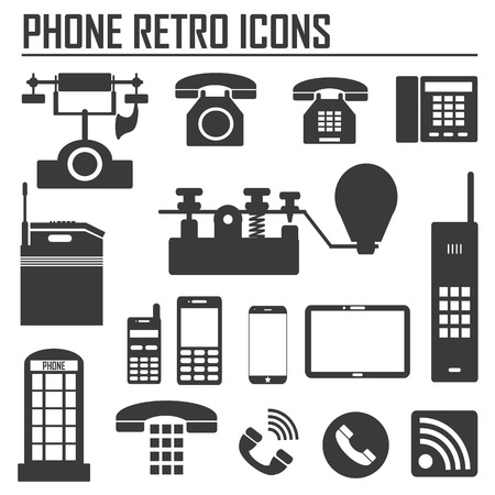 The collection which show evolution of phone and communication icons on white background. Vector illustration. Vector