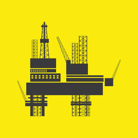oil industry design over background vector illustration . Silhouette of Offshore Jack Up Rig Vector