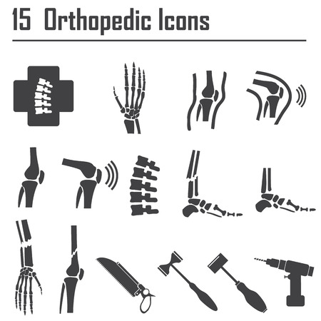bone: 15 Orthopedic and spine symbol - vector illustration