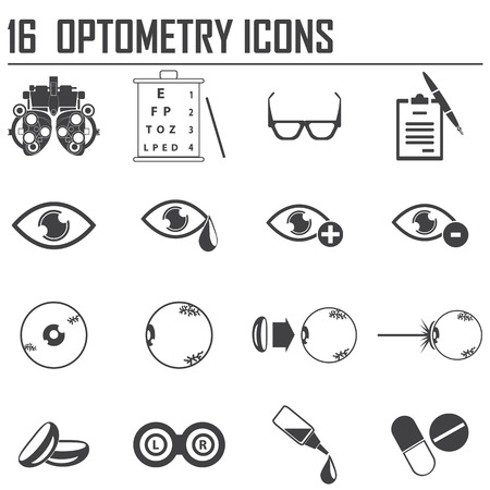contact icons: 16 optometry icons Illustration