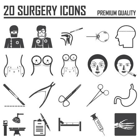 surgical: 20 iconos de cirugía Vectores