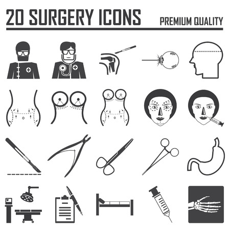 plastic heart: 20 surgery icons Illustration