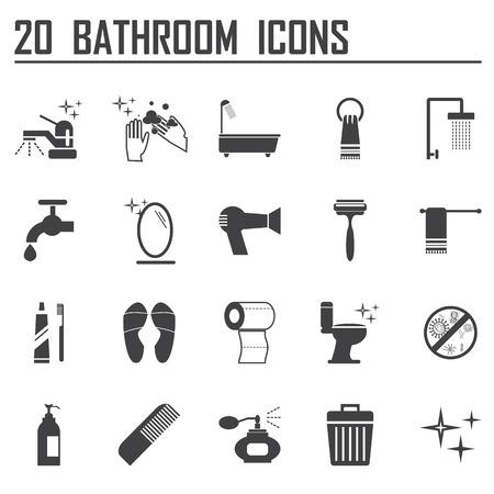 20 bathroom icons set