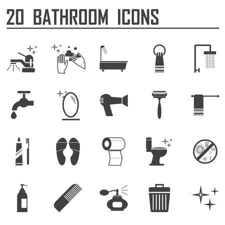 20 bathroom icons set