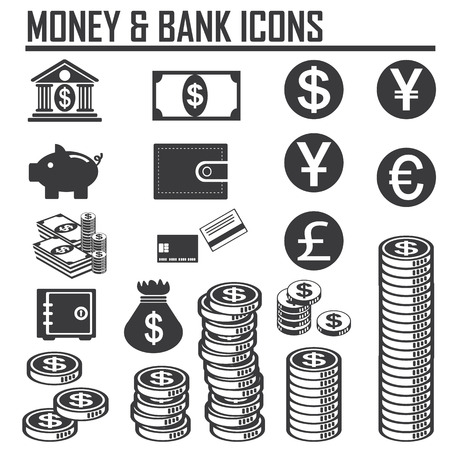money and bank icons Vector