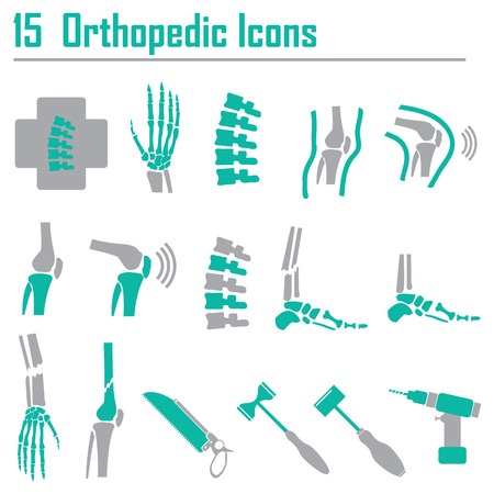 skelett mensch: 15 Orthop�dische und Wirbels�ulen Symbol - Vektor-Illustration Illustration
