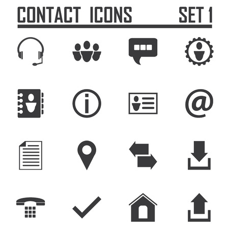 Contact icons on white background, stock vector