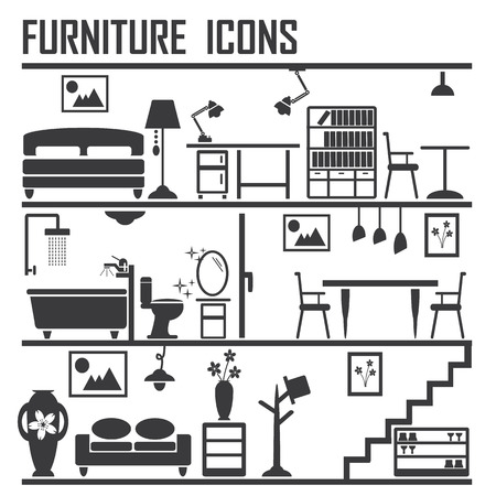 bedroom interior: Furniture icons