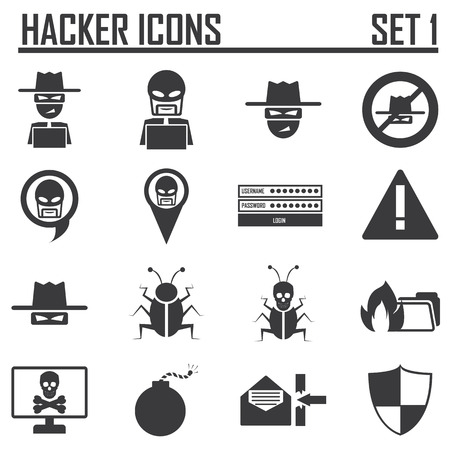 hacker icons set 1 Vector