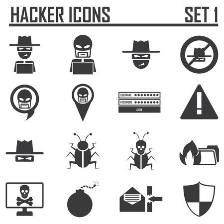 hacker icons set 1 Vector