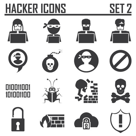 hacker icons set 2 Vector