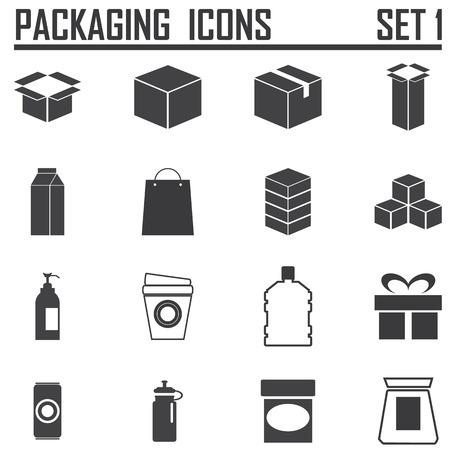 verpakking pictogrammen Stock Illustratie