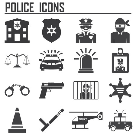 police station: police icons Illustration