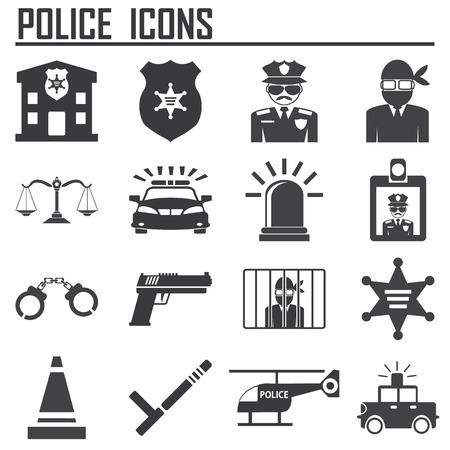 police icons Stock Illustratie