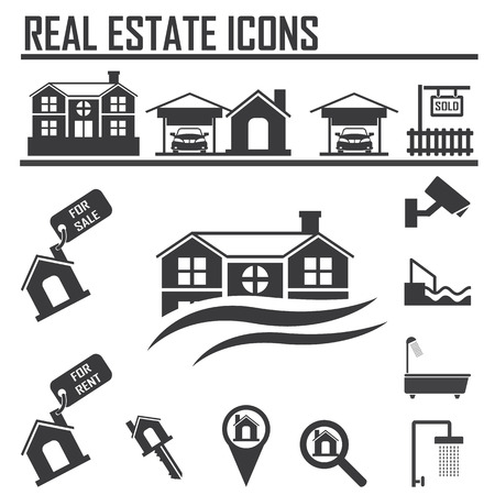 furniture detail: Real estate icons Illustration