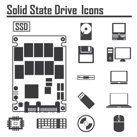 Solid State Drive, SSD and Computer Icons