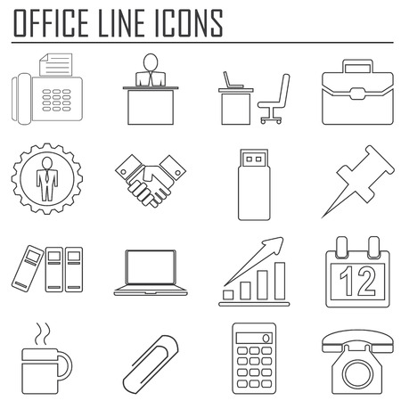filing documents: business & office line icons