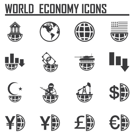world economy: Finance, money, currency exchange, world economy, financial analysis icons.