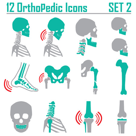 medicine chest: 12 Orthopedic and spine symbol Set 2 - vector illustration eps 10 mono symbols Illustration