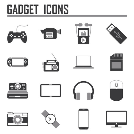 gadget: gadget icons, mono vector symbols Illustration