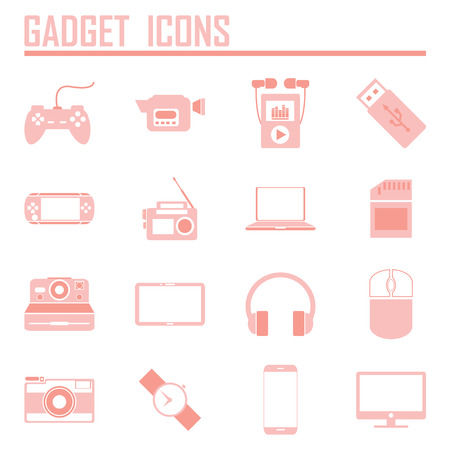 gadget icons, mono vector symbols Illustration