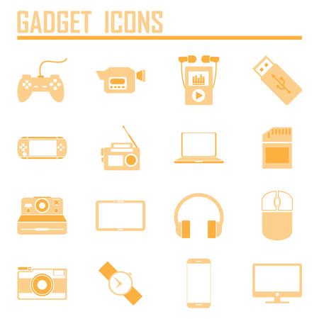 mouse pad: gadget icons, mono vector symbols Illustration