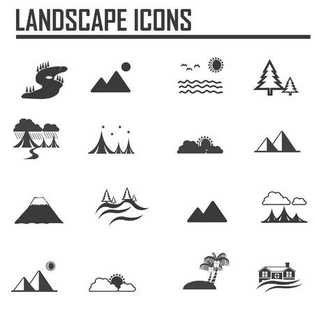landschap pictogrammen Stock Illustratie