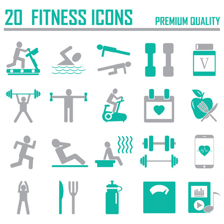 man machine: Fitness Icons Illustration