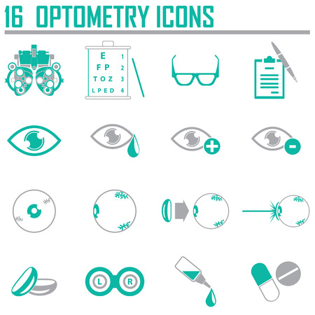 contact lens: optometry icons set
