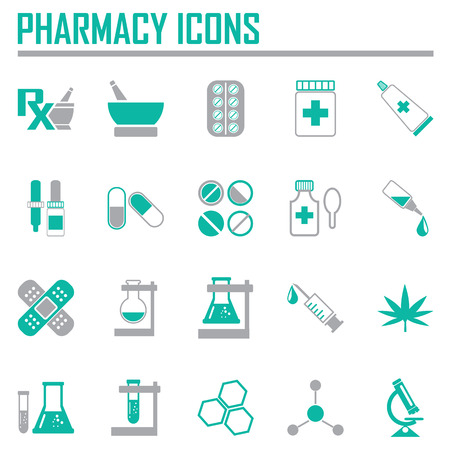 symbol mortar: Vector pharmacy icons - in green color