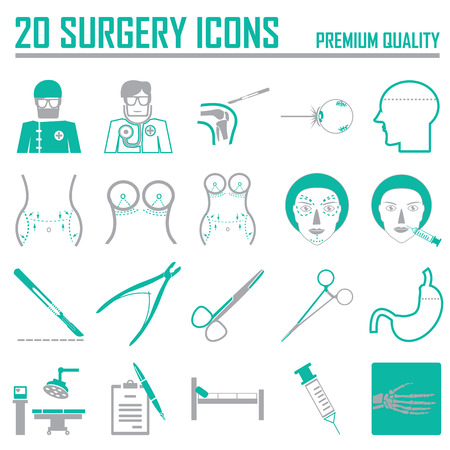 20 Green surgery icons