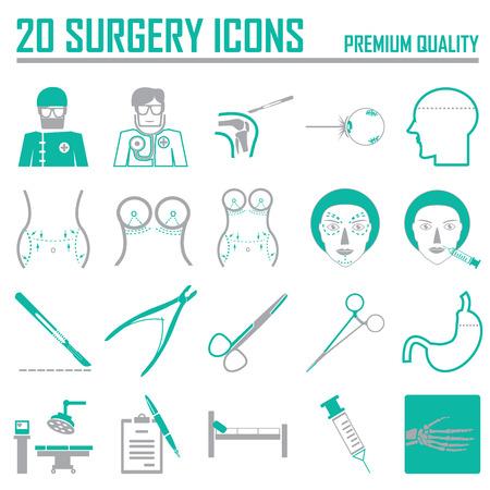 20 Green chirurgie pictogrammen Stock Illustratie