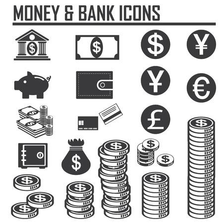 Geld iconen Stock Illustratie