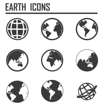 globe arrow: Globe earth vector icons set Illustration