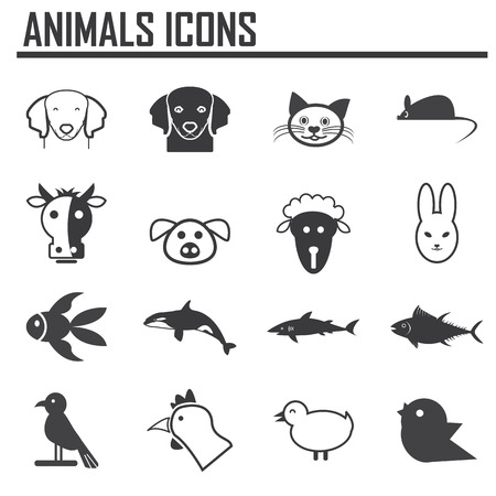 wild animals: vector collection of animal icons