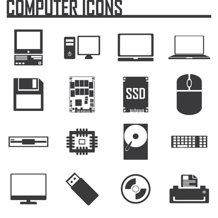 ssd: computer icons set.