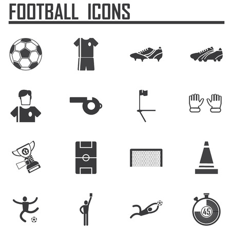 Soccer icons set flat design. Illustration eps10 Vector