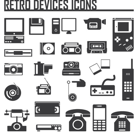 computer icon: Devices retro old set icon vector illustration Illustration