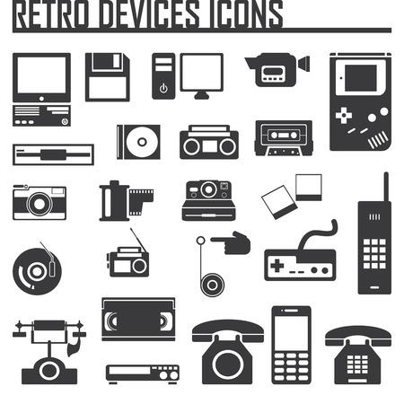 icono computadora: Dispositivos de conjunto de iconos de edad ilustración retro vector