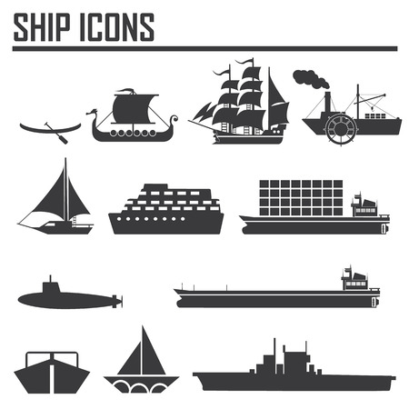 Boats and ships icons set Vector