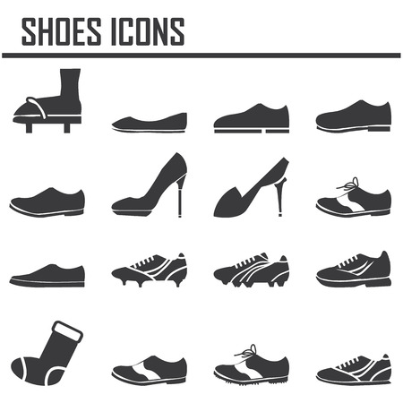 leather shoes: shoes icon set Illustration