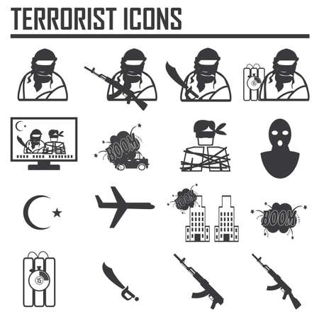 Hijacker Terrorist Airplane car bomb,vector Icon Clipart Illustration